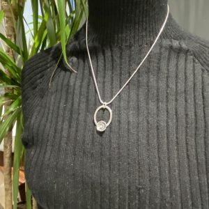 Oval Pendant with Double Flower